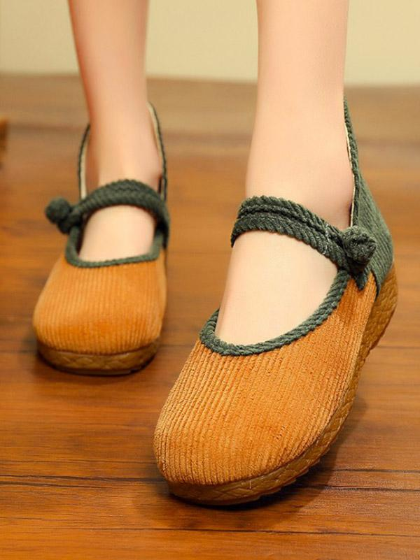 Split-joint Chinese Button Flat Shoes