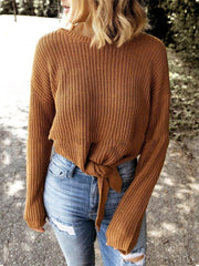 Casual round neck waist long sleeve sweater