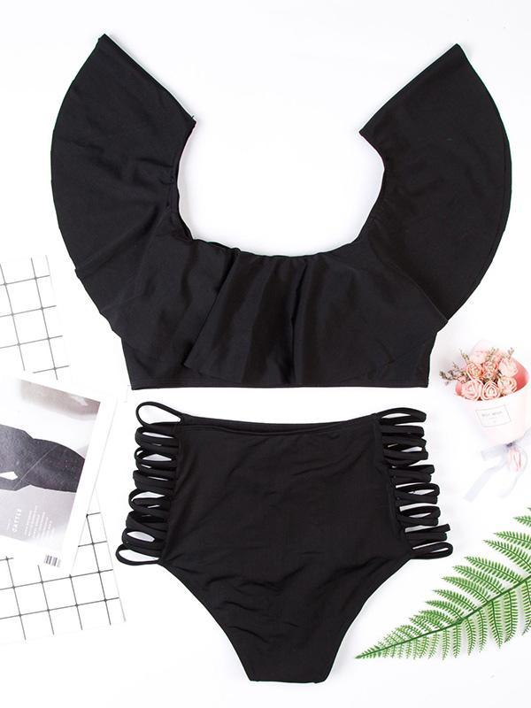 Off-the-shoulder Hollow Bottom Bikinis Swimwear