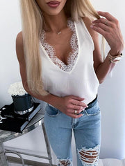 Solid Lace Hollow Split-joint V-neck Vest