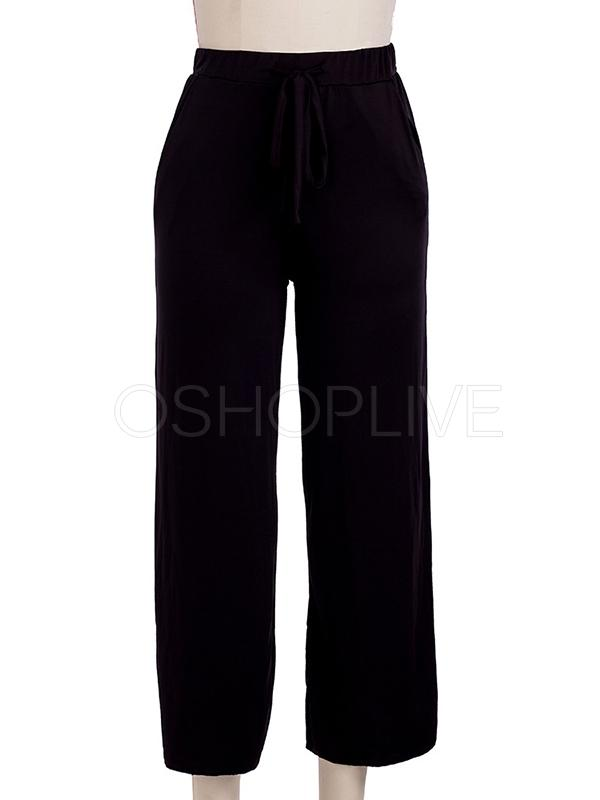 Three-color Lacing Wide-leg Casual Pants