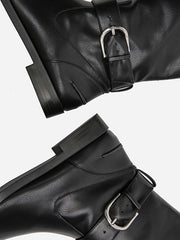Solid Side-zipper Low Heels Leather Knee Boots