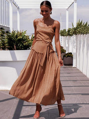 Vacation Fashion Collect waist Maxi Dresses