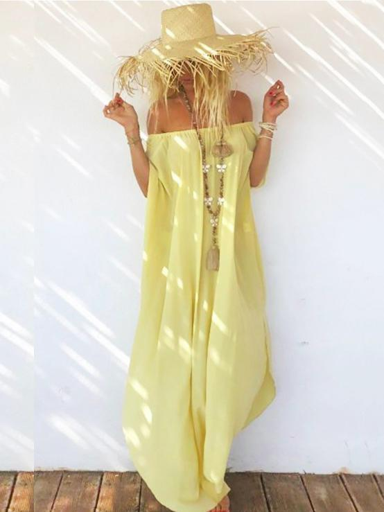Chiffon Off-the-shoulder Split-side Maxi Dresses