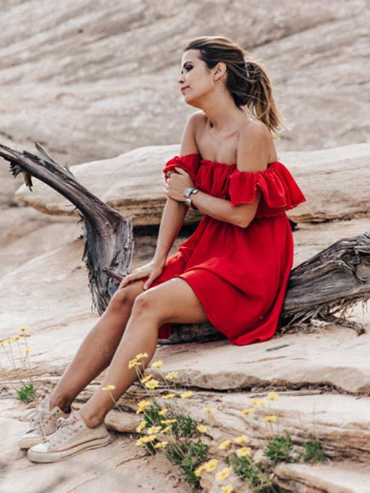 Lace Flounces Off-Shoulder Mini Dress