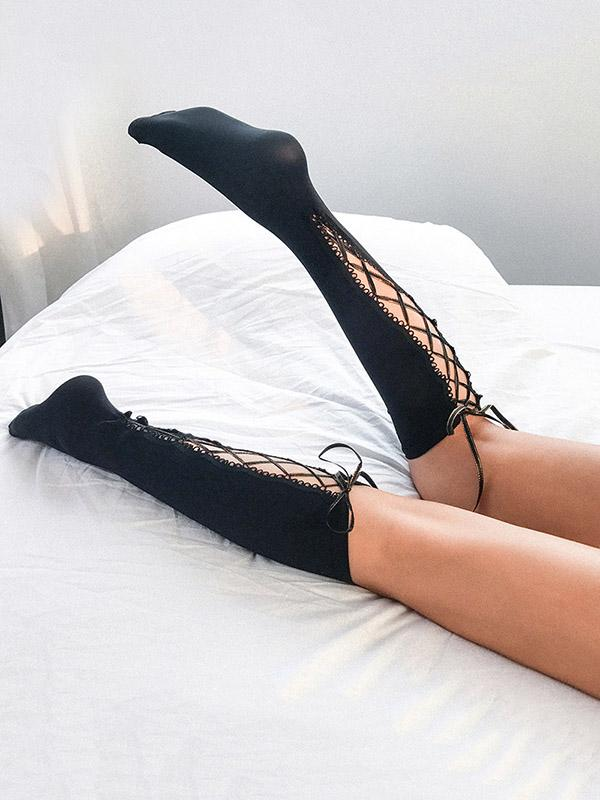 Sexy Cross Straps Hollow Mid Stocking