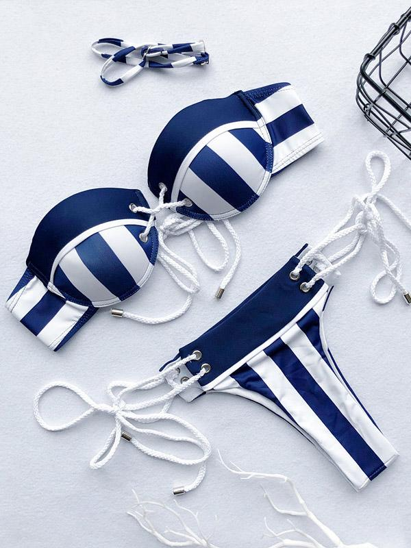 Underwired Wide Striped Bikini Swimsuit