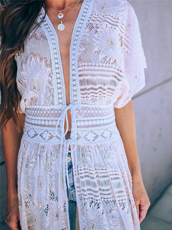 Hollow Bandage Embroidered Bikini Cover-Ups