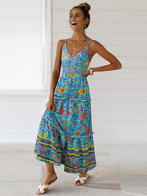 Slit Down Floral Printed V-neck Maxi Dress