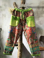 National Floral Print Split-joint Harem Pants