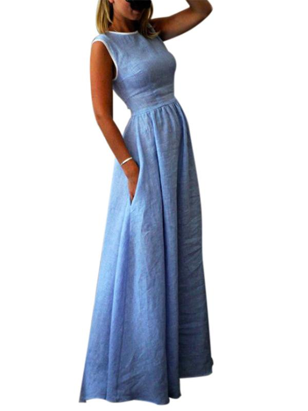Solid Round Neck With Pocket Maxi Dresses
