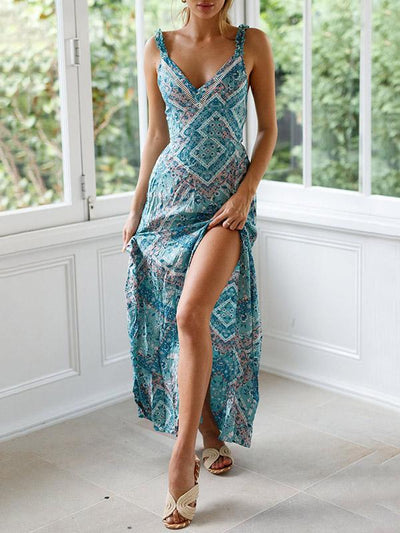 V-neck Hollow Backless Printed Bohemia Maxi Dresses