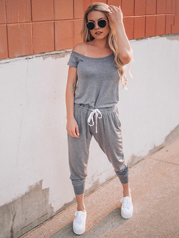 Short Sleeved With Slanted Shoulder Athleisure Jumpsuits
