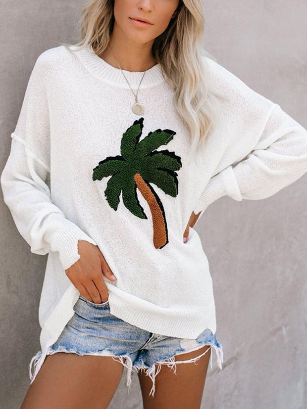 Casual coconut tree pattern long sleeve solid color sweater