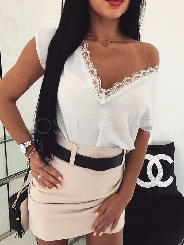 Solid Sexy Lace V-neck T-shirt