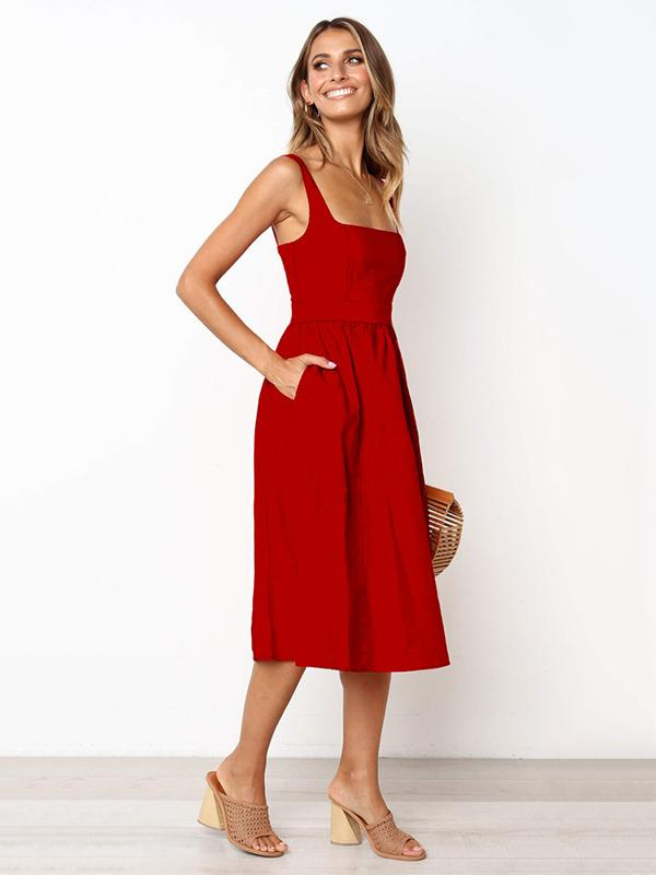 Simple Halter Slip Sexy Midi dress