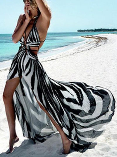 Printed Bandage Backless Sexy Maxi Dress