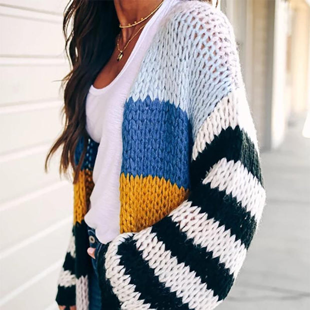 Solid Color Knit Sweater Casual Color Contrast Sweater Coat