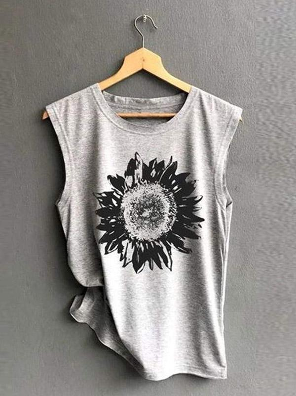Casual Printed Sleeveless T-shirt Top