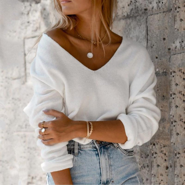Casual Solid Color V-neck Long Sleeve Knit T-shirt