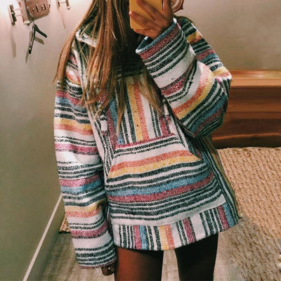 Women's Casual Drawstring Striped Long Sleeve Hooded Sweatshirt