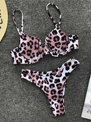 Leopard Printed Top With Panty Bikini Set