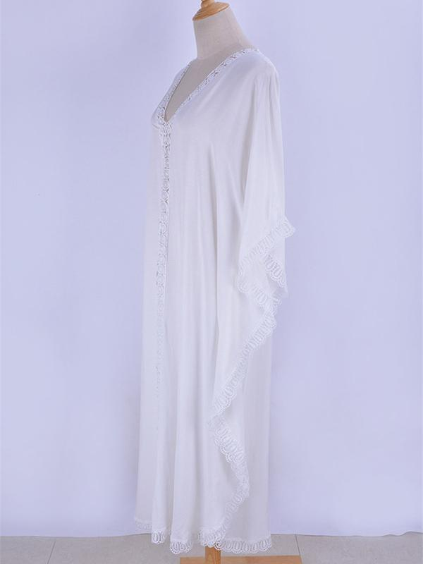 Solid Color Lacy Split-joint Kaftan Cover-up