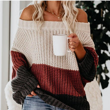 Daily Color matching Boat Neck Women's Sweater