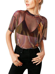 Casual See-through Gauze T-shirt