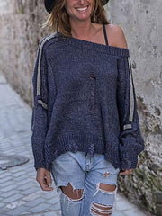Brief Off-shoulder Pure Colour Loose Sweater