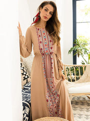 Round-neck Long Sleeves Printed Maxi Dress