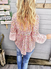 Printed V-neck Tasseled Blouses&shirts Top