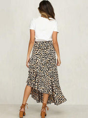 Cropped Leopard Empire Split-side Bust Skirt