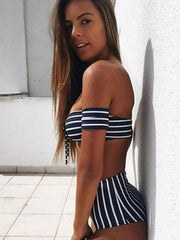 Sexy Striped Bow-embellished Top With High Cut Panty Bikini Set