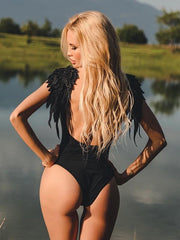 Sexy Backless Angel Wing Leopard One-piece Swimsuit