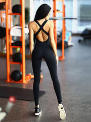Cross Strapped Yoga Jumpsuits