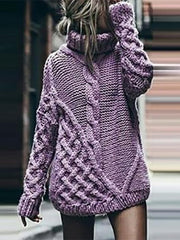 Fashion Pure Color Long Sleeve High Neck Sweater