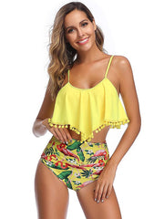 Ruffle Tassels High Waisted Tankini Swimsuit