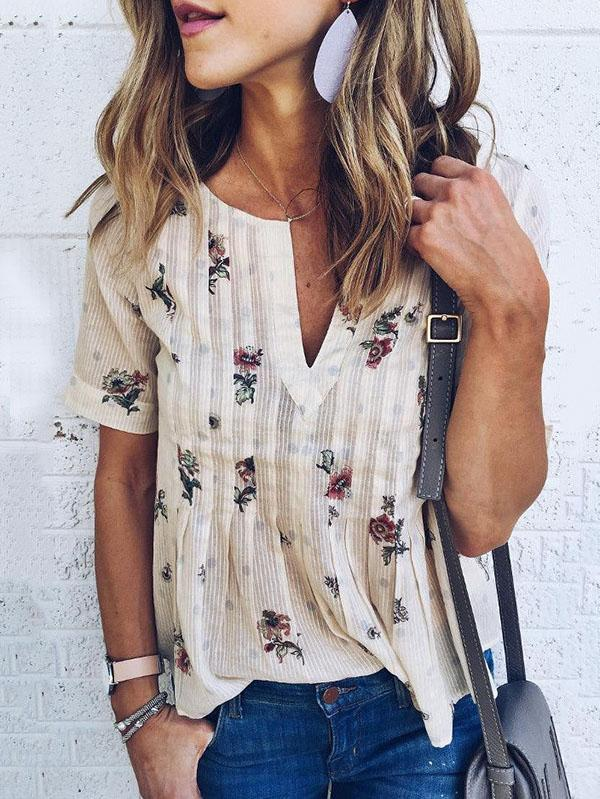 V-neck Floral Short Sleeves Blouses&shirts Tops