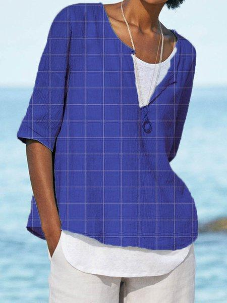 Plaid Half Sleeve Cotton-Blend Casual Shirts & Tops