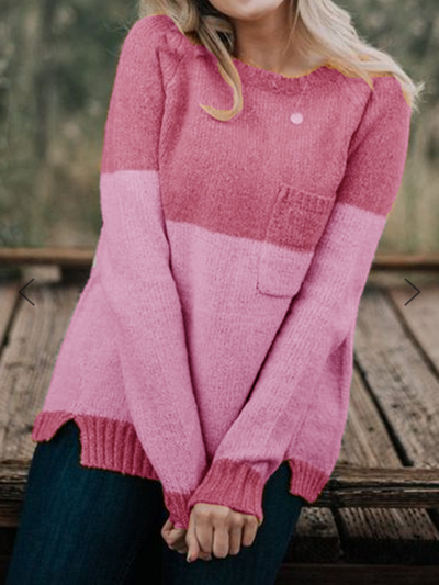 Fashion Round Neck Contrast Color Sweaters