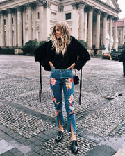 Casual Printed Slit Long Jeans