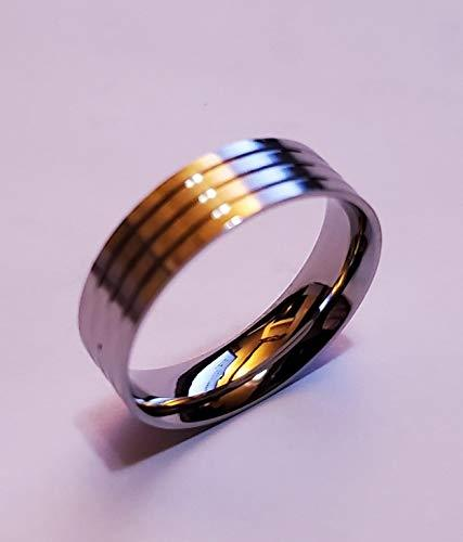 Ring Core 6mm Wide Stainless Comfort w Glue Grooves. Size 8 1/2 - JDGFCSS-85-6 - Wood Acrylic Supply