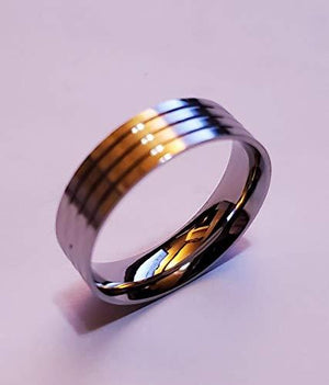 Ring Core 6mm Wide Stainless Comfort w Glue Grooves. Size 10 - JDGFCSS-10-6 - Wood Acrylic Supply