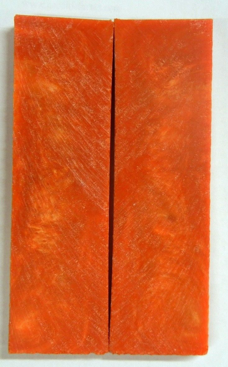 "Golden Orange Acrylester #12 (2 pc) Knife Scales 3/8"" x 1 1/2"" x 5"" - 2259"