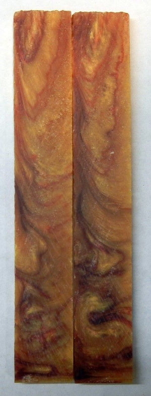 "Red Russet Gold Acrylester #22 (2 pc) Knife Scales 3/16"" x 3/4"" x 5"" - 1977"