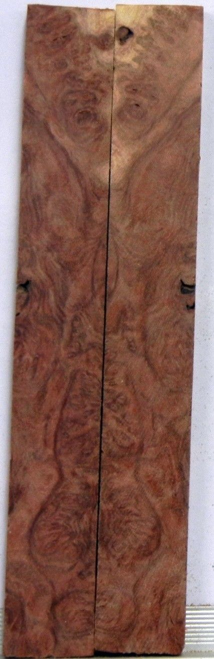 "Mallee Red  Burl (2 pc) Mini Knife Scales  3/16""x3/4""x5""    703 - Wood Acrylic Supply"