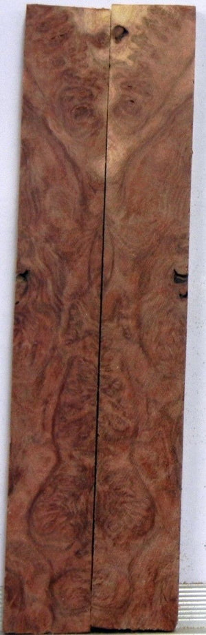 "Mallee Red  Burl (2 pc) Mini Knife Scales  3/16""x3/4""x5""    703"