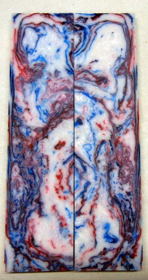 "Patriotic Swirl Acrylester #31 (2 pc) Knife Scales 1/4"" x 1 1/2"" x 6"" - 1481 - Wood Acrylic Supply"