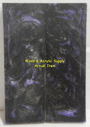 "Black & Violet Acrylester #23 (2 pc) Knife Scales 3/8"" x 1 3/4"" x 5"" 5427"